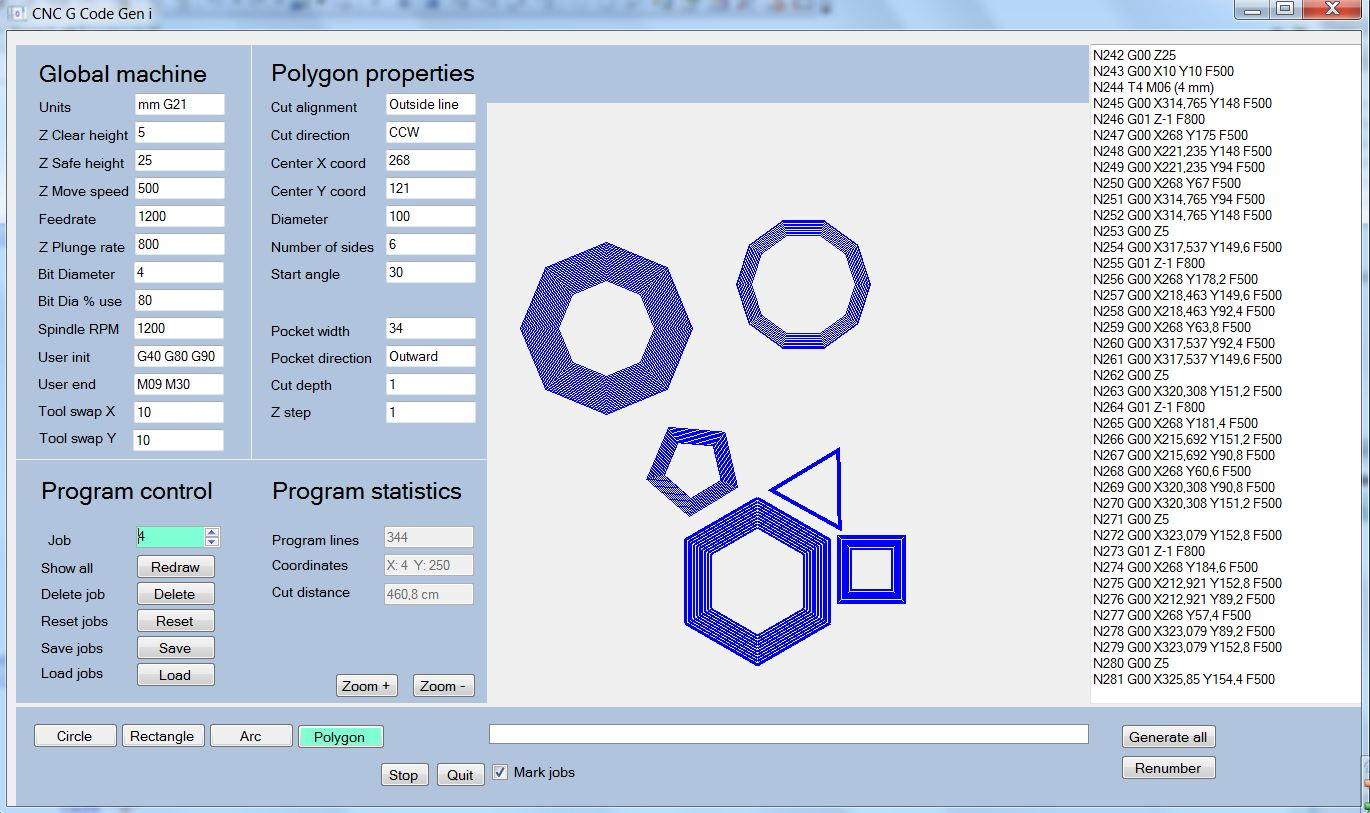 G-Code generator for milling a polygon - cnc g-code